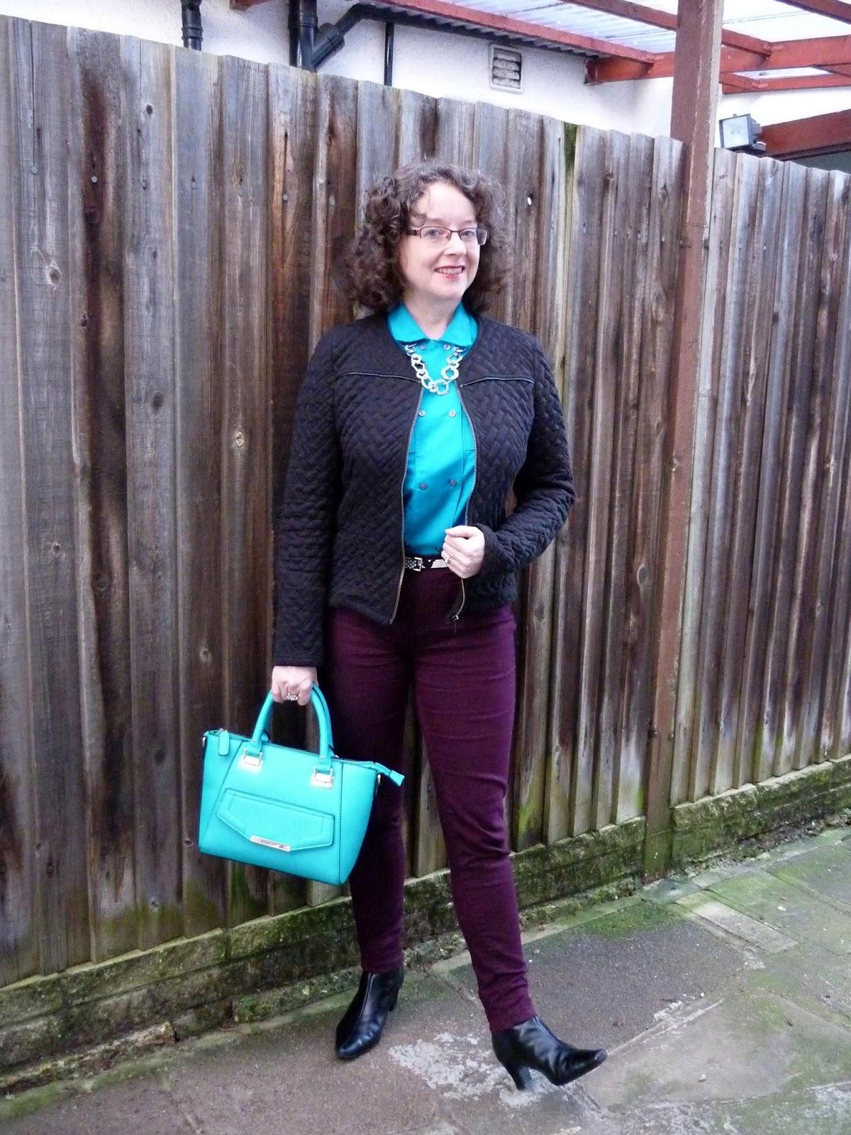 Camaieu Jacket, Marks & Spencer Turquoise Shirt, Dorothy Perkins Petite Jeans | Petite Silver Vixen