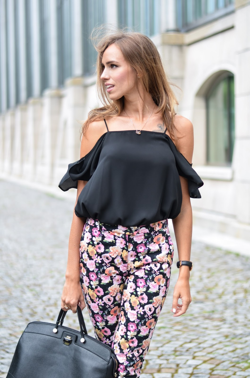 kristjaana mere asos off shouler black top
