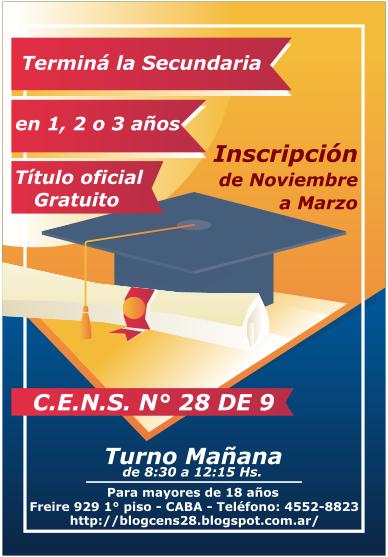 Inscribite en el CENS Nº 28 y terminá la secundaria