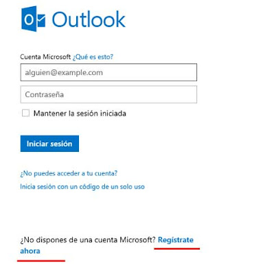 registrarse en Outlook correo