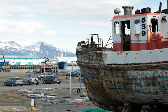 An old boat by Reykjavik harbour