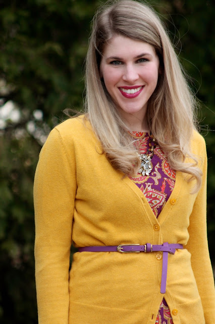 purple floral dress, mustard cardigan, cognac wedges