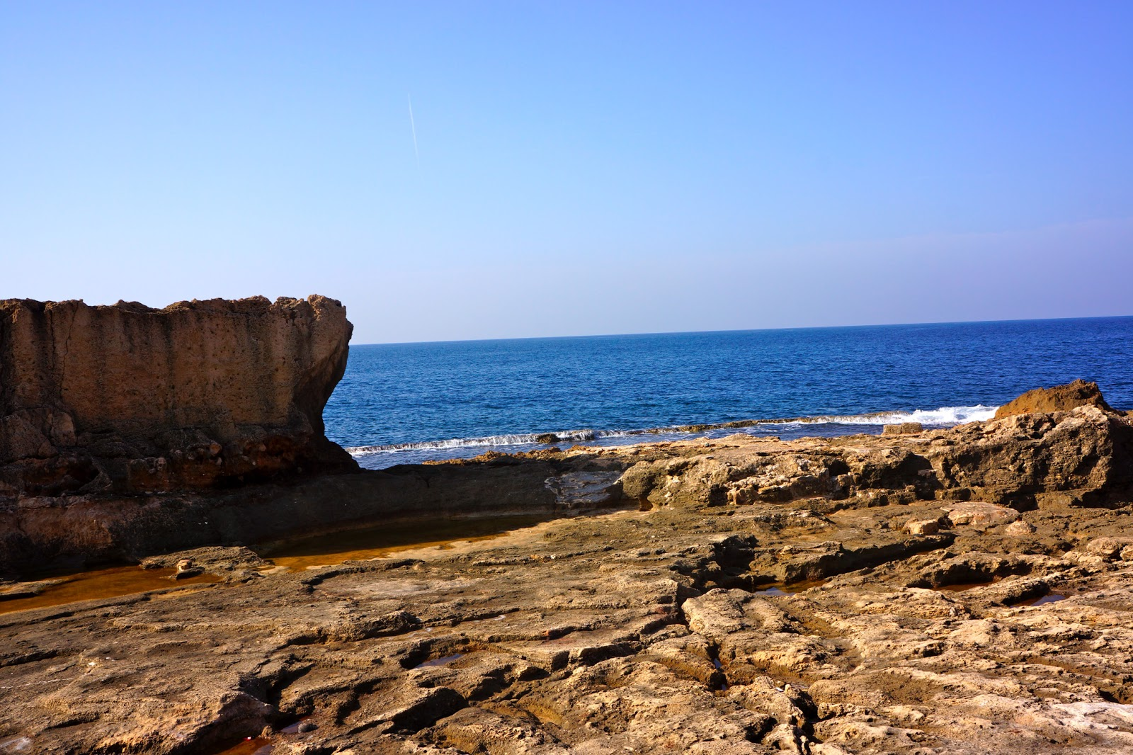 Picture of the phoenician wall in the coastal town of Batroun in Lebanon.