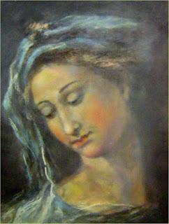 obraz fragmentu obrazu Rafaela - Madonna della Rosa, w wydaniu pastelowym, autorstwa Marka Strójwąsa