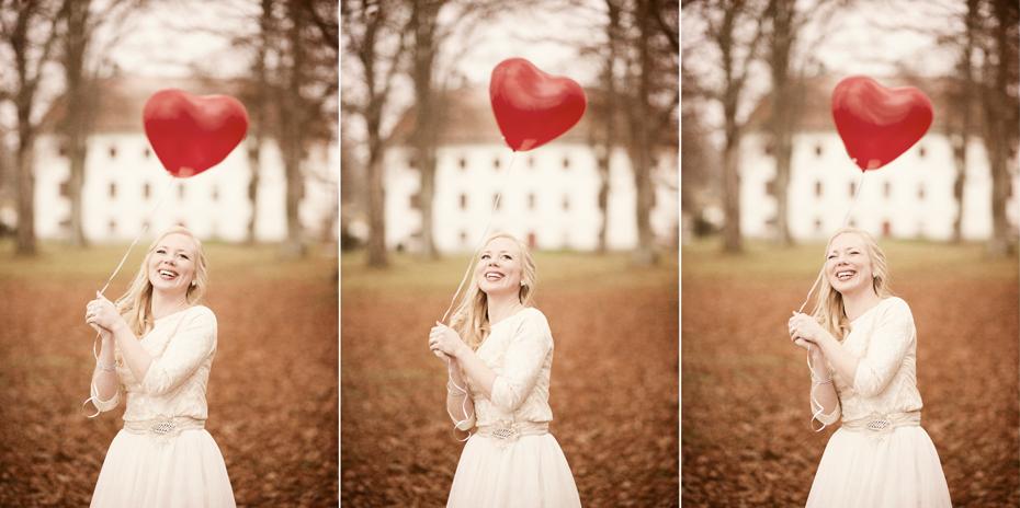 Brud med rød hjerteballong, Bryllupsbilder fra slott i Sverige, Fotograf Trine Bjervig