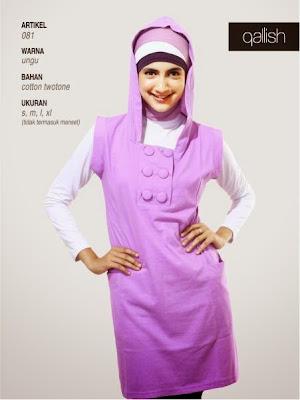 Busana Muslim katun twotone ungu 081