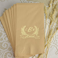 Monogrammed Autumn Wheat Kraft Guest Towels