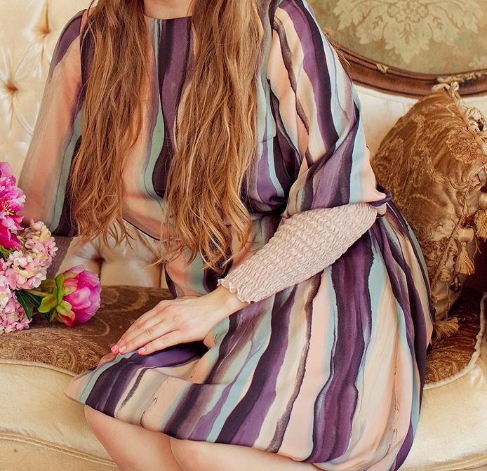 шифоновое платье нежная роза