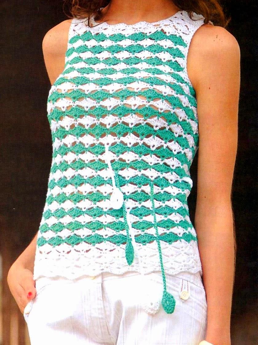 Patrones y moldes de Blusa sin mangas en dos colores al crochet