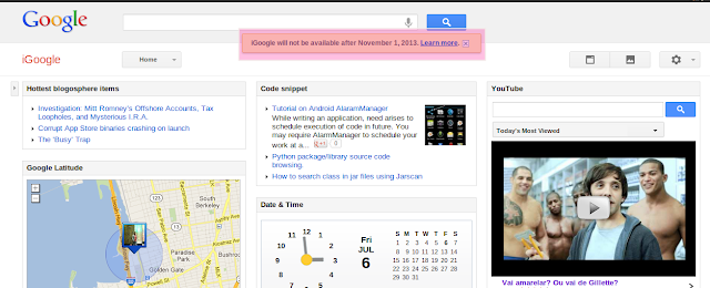 iGoogle will not be available after November 1, 2012