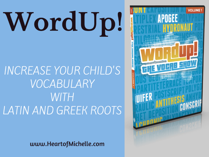 WordUp! is a fun, entertaining and effective way to increase your child's vocabulary using Latin and Greek roots. www.HeartofMichelle.com