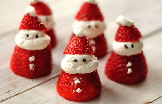 como fazer Papai Noel de Morango para o Natal