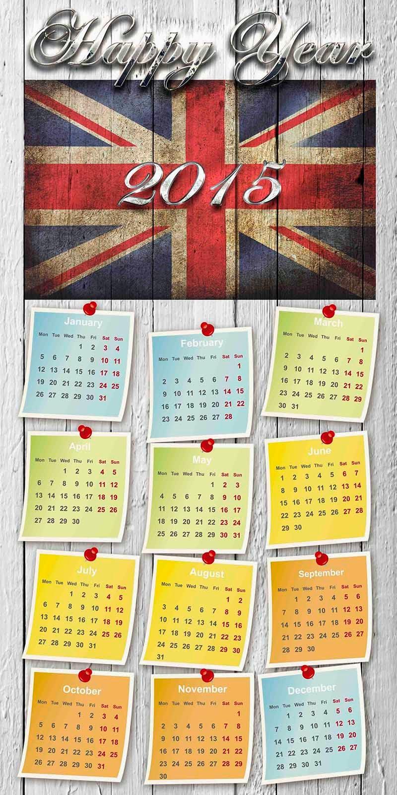Muro de madera con bandera de Inglaterra y calendario 2015 en inglés