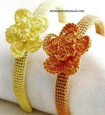 Diademas tejidas a crochet mimundomanual - Diademas de ganchillo ...