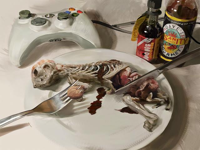 Imagen de un gato desollado servido en un plato del cual una persona come las vísceras