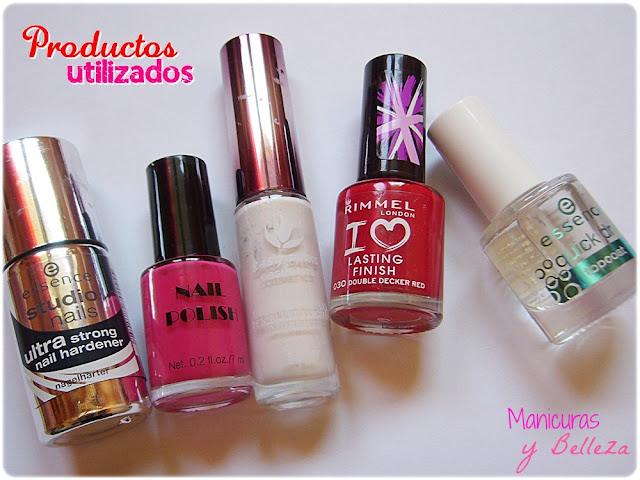 Manicura Nail art rojo rosa blanco rayas Essence Rimmel London Easy Paris H&M