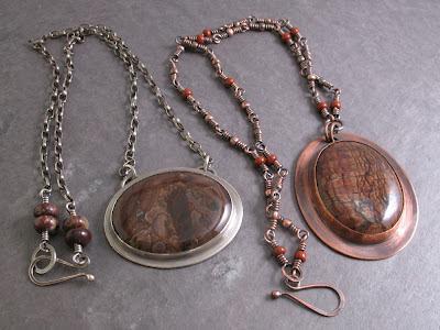 Cicada Silver & Libellula Jewelry:  Bezel set Biggs jasper necklaces