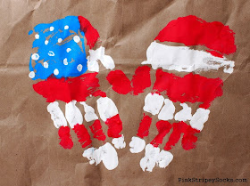 American Flag Handprint Heart Art