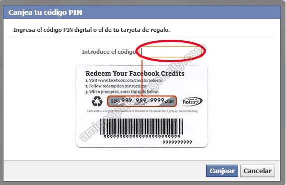 escribir codigo pin de la tarjeta de facebook en dragon city
