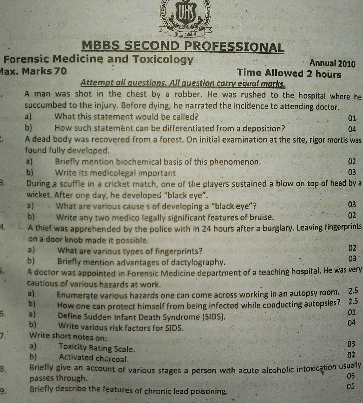 3rd year mbbs past papers. ~ Flash Medical
