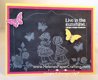Faux Chalkboard Card Little Girls and Butterflies