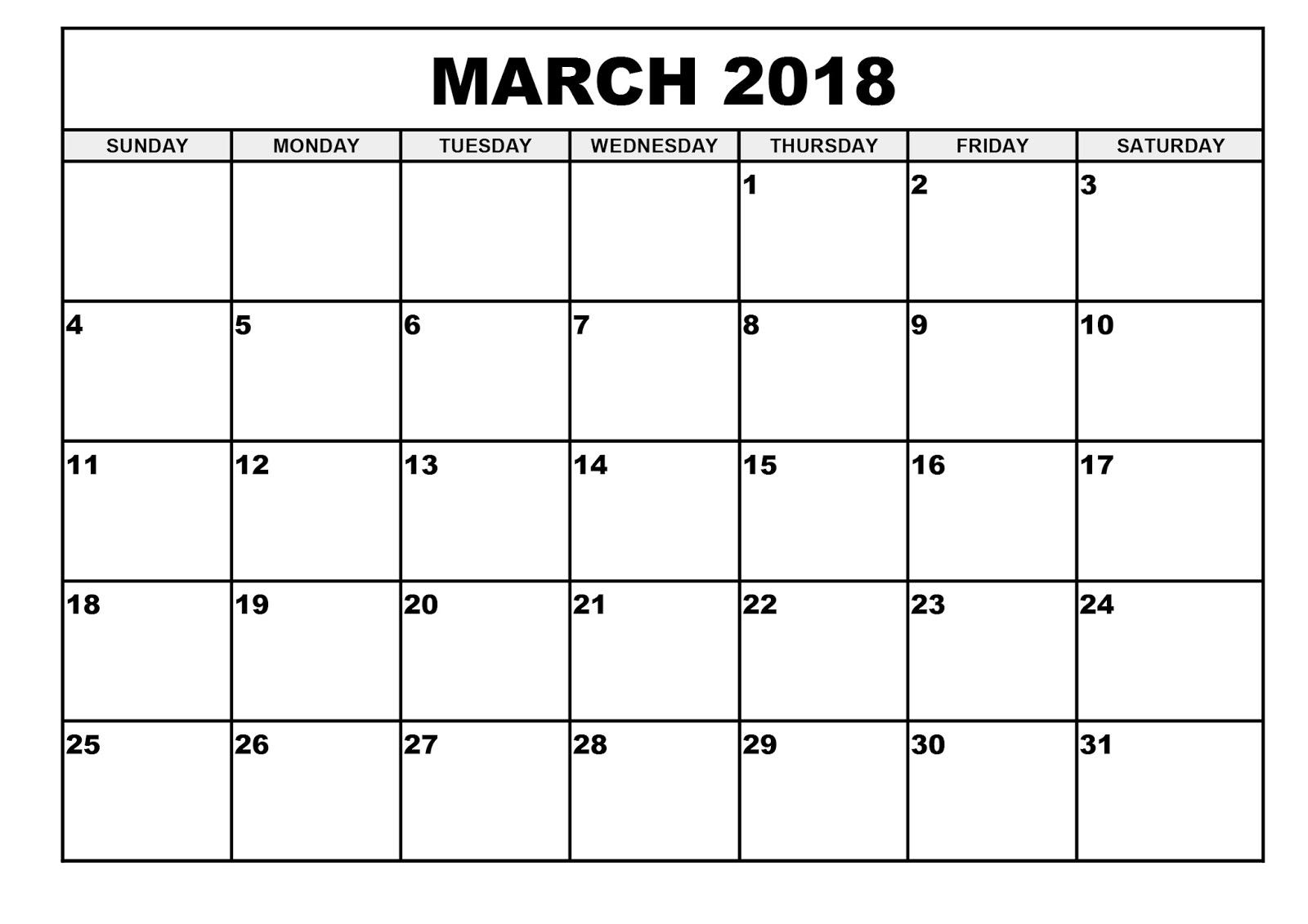free printable blank calendars 2018