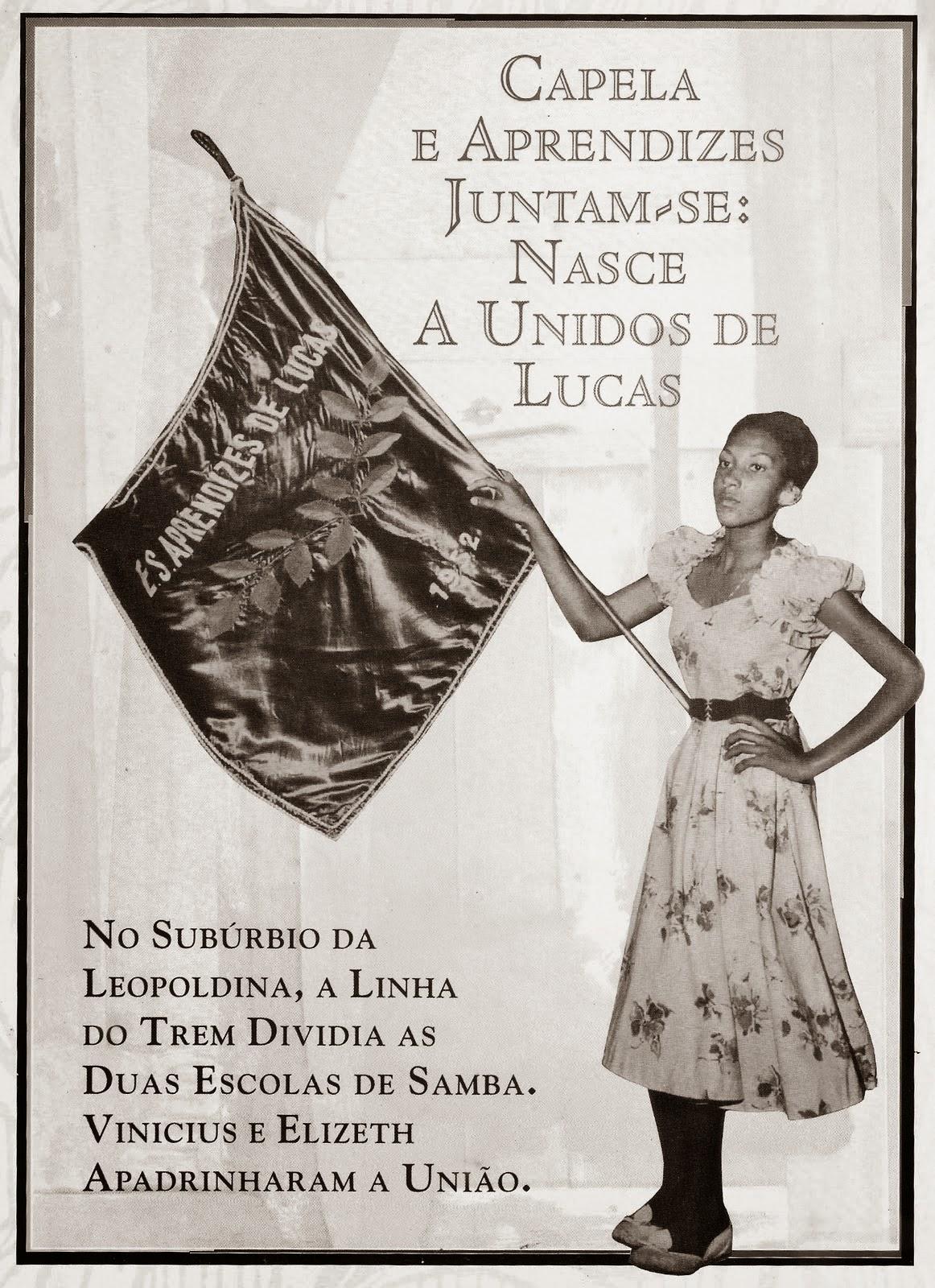 Nas mãos da porta-bandeira, o pavilhão da Aprendizes de Lucas / Fonte: Blog Tuco e Batalhão de Sambistas