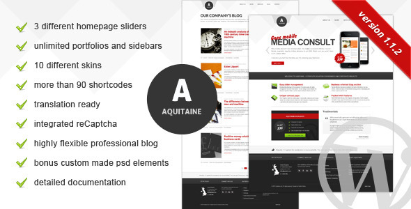 Aquitaine Wordpress Theme Free Download by ThemeForest.