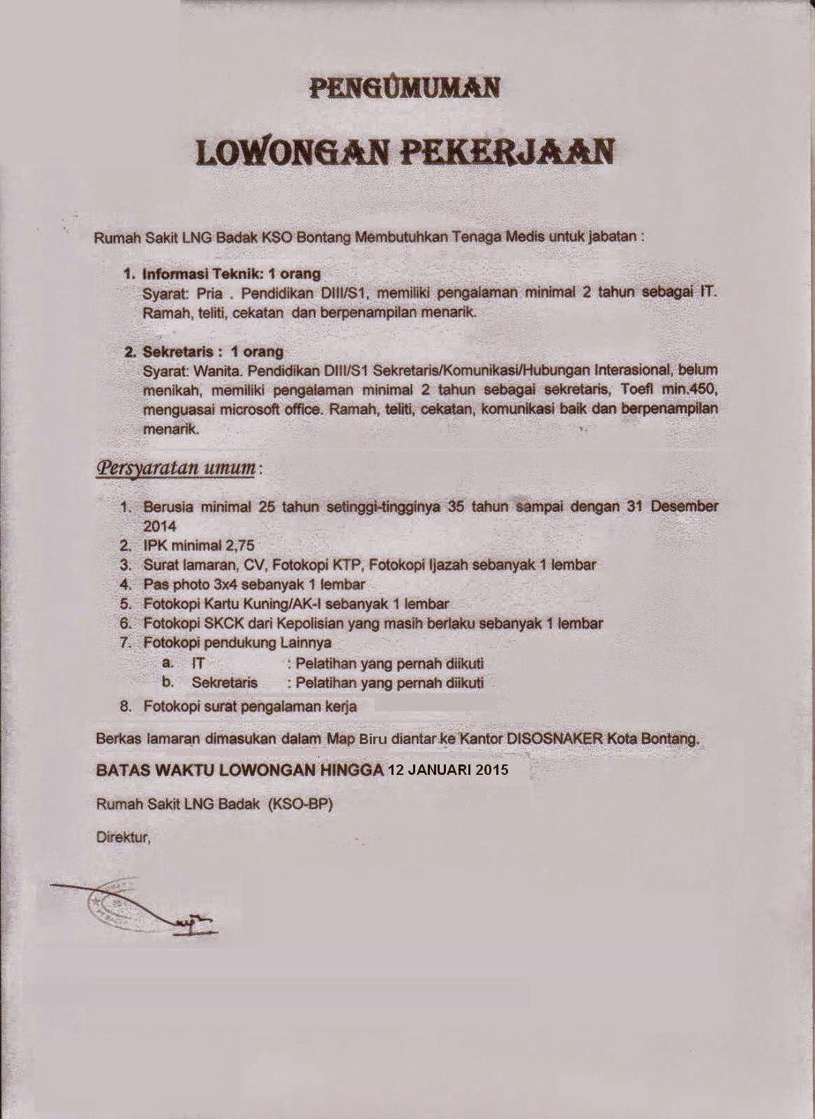Lowongan Kerja Rumah Sakit LNG Badak KSO Bontang