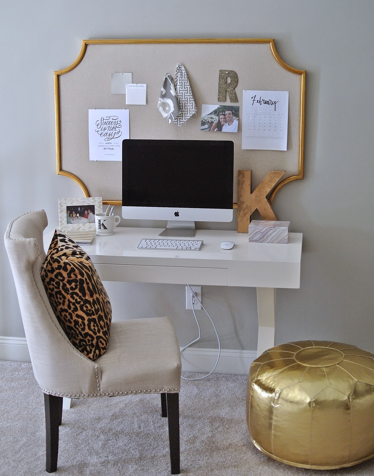Olive Lane Home Office White and Gold www.olivelaneinteriors.com