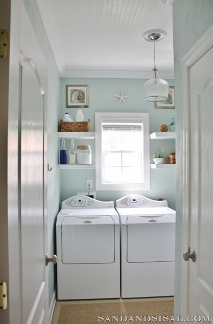 beach inspired laundry room reveal on Funky Junk