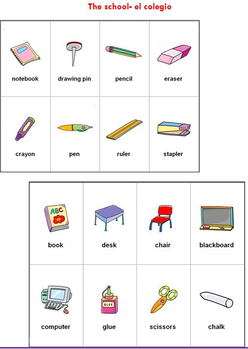 Utiles escolares en inglés con pronunciacion - Imagui