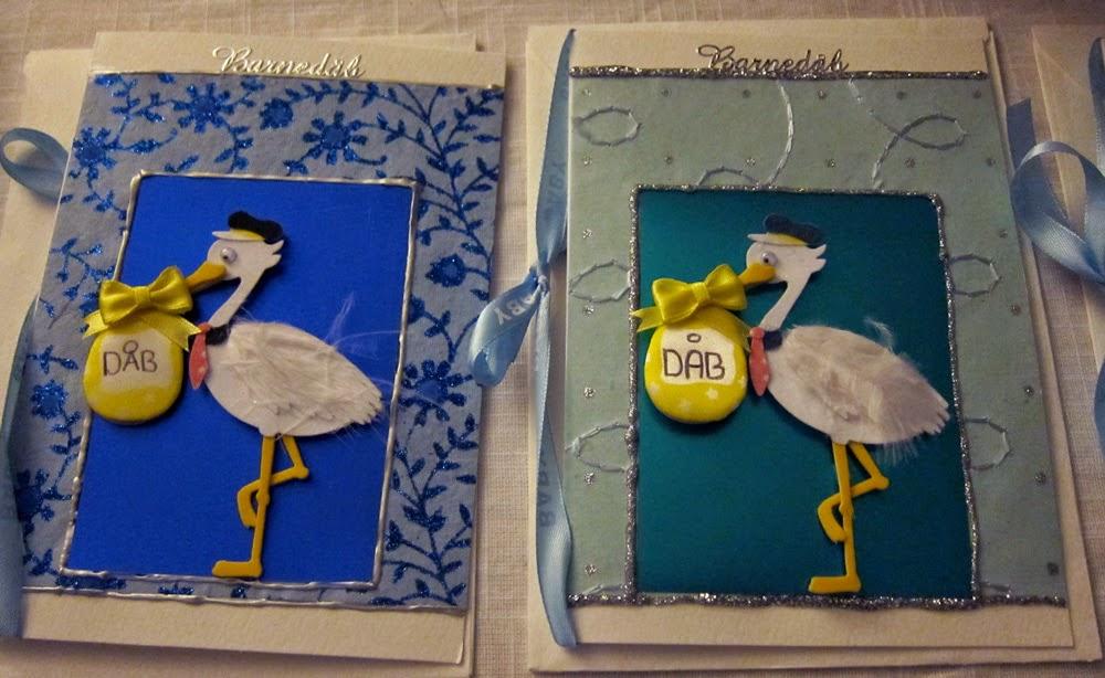 Barnedåbs kort med stork