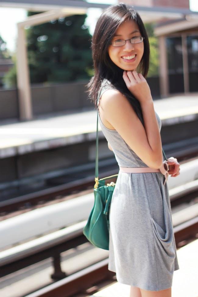 draped dress with pockets