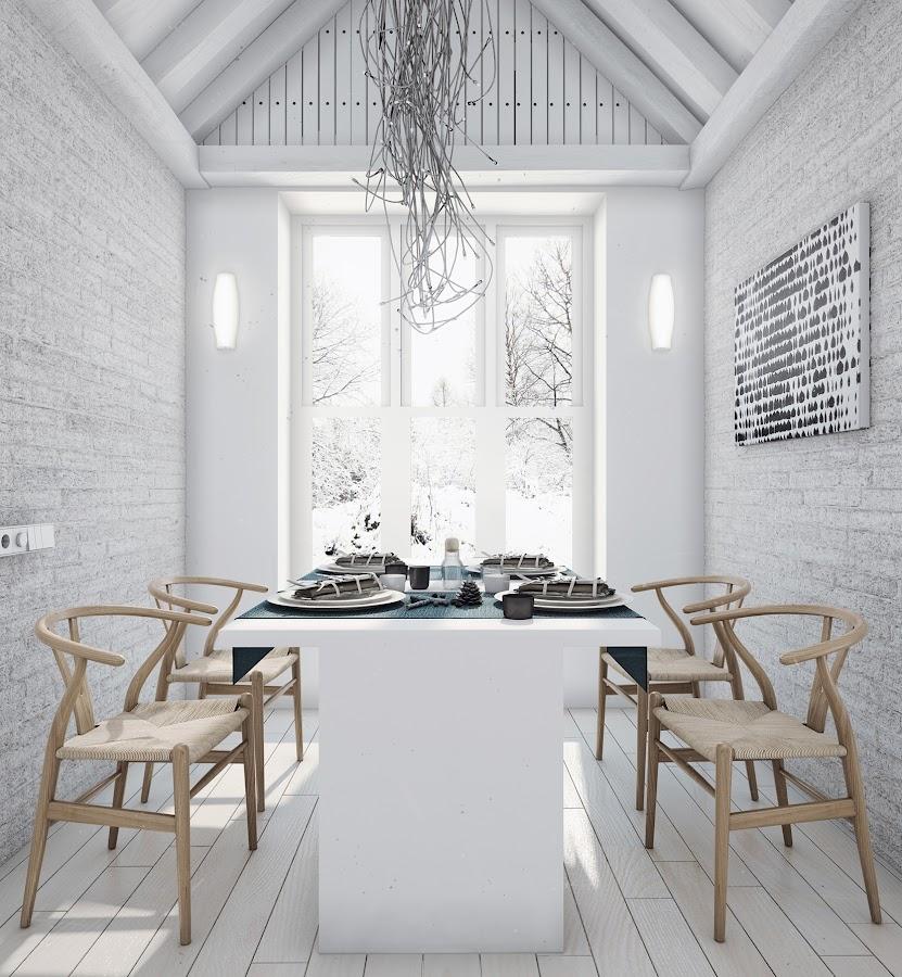 Interior casa de campo de estilo loft decoraci n - Decorar en blanco y madera ...