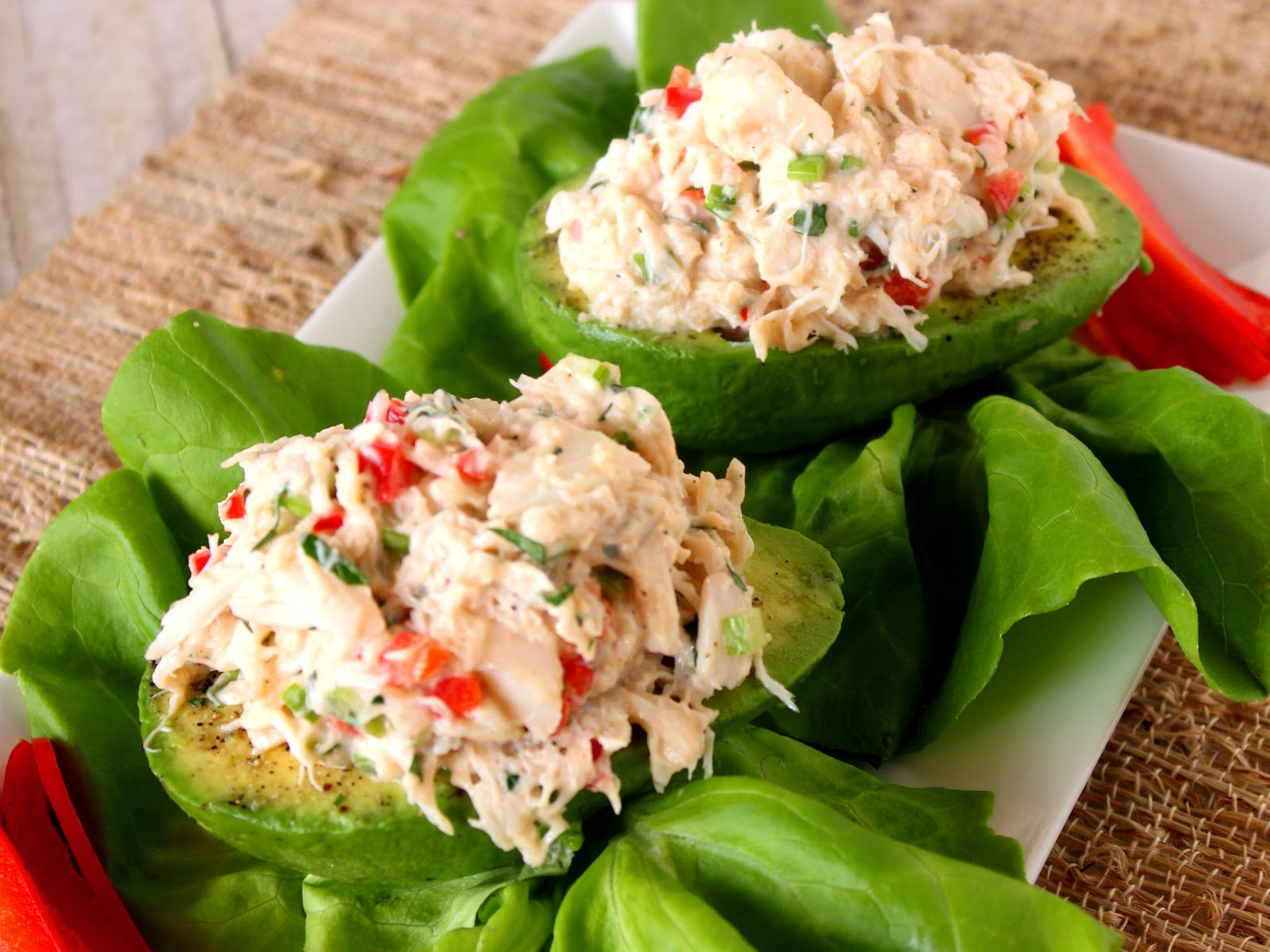 Crab Salad Stuffed Avocado Recipe via Kudos Kitchen By Renee