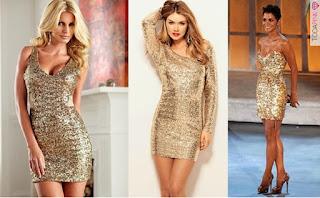 vestido de paetê dourado para o ano novo