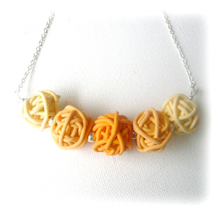 Peach Cream Scribble Necklace, Polymer Clay