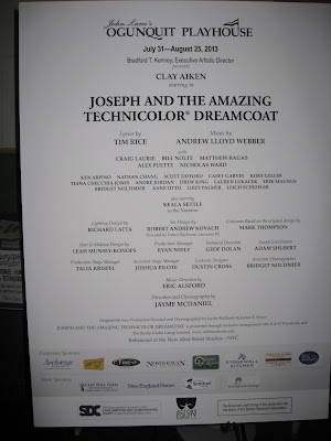 Poster of Joseph and the Amazing Technicolor Dreamcoat, starring Clay Aiken, in lobby of Ogunquit Playhouse