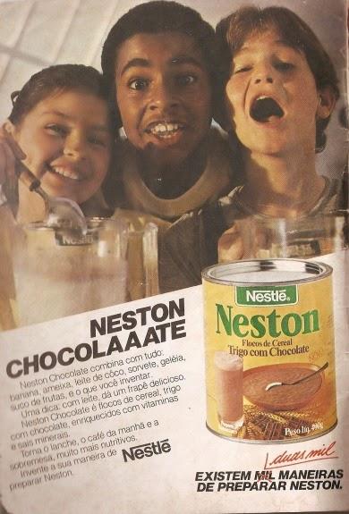 Propaganda do Neston (Nestlé) sabor chocolate em 1984. Propaganda veiculada em gibis brasileiros.