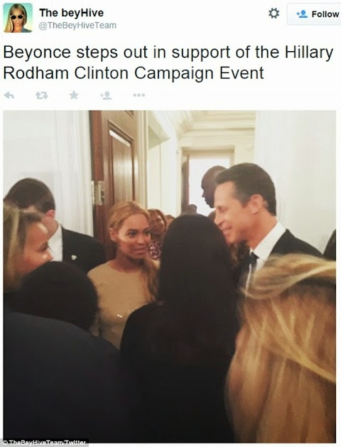 Beyonce attends Hilary Clinton's presidential fundraiser