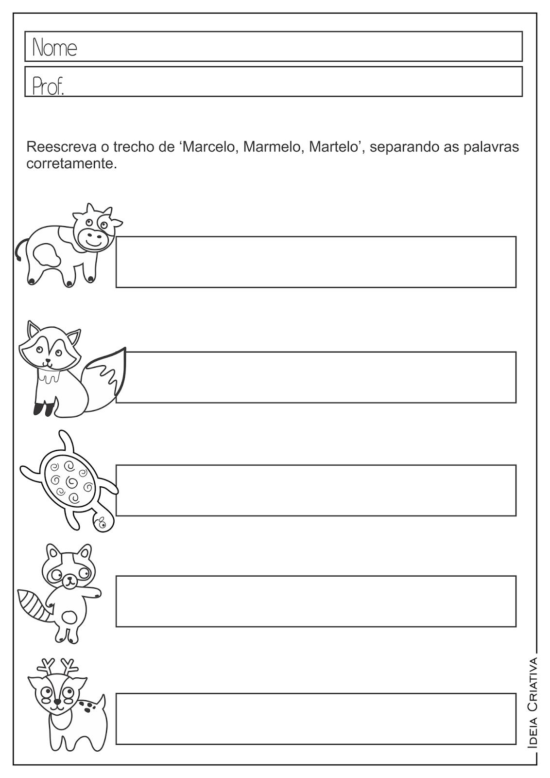 Atividades Educativas Auto Ditado Animais para Ensino Fundamental
