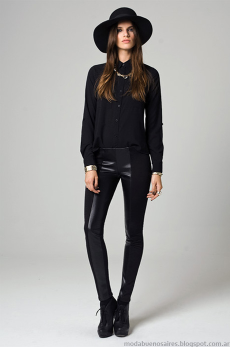 Pantalones con recortes en cuero y leggings otoño invierno 2014 Moda Mab.