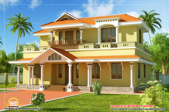 Kerala model home design - 2550 Sq. Ft. (236 Sq. M.) (283 Square Yards) - March 2012