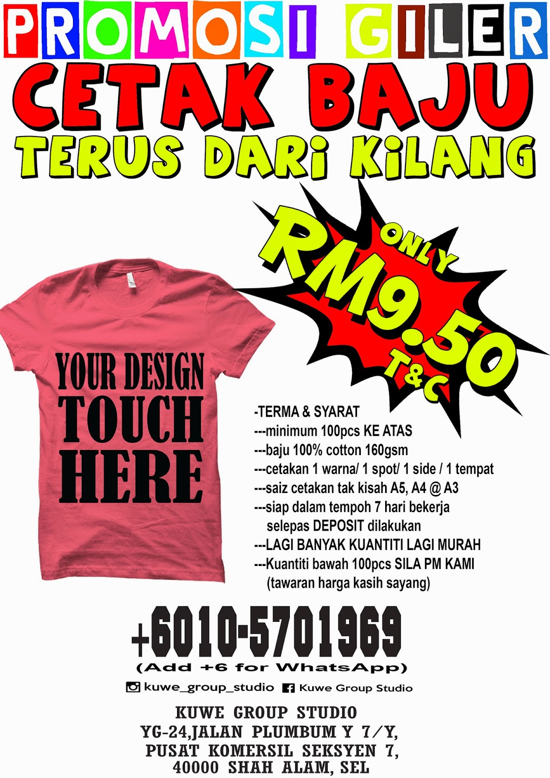 Design t shirt murah - The Design Of T Shirt Must Have 1 Color Only On 1 Spot And 1 Side Area Of Printing
