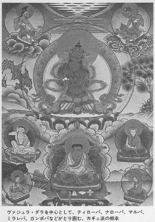 ヴァジュラ・ダラを中心として、ティローパ、ナローパ、マルパ、 ミラレパ、ガンポパなどがとり囲む、カギュ派の相承