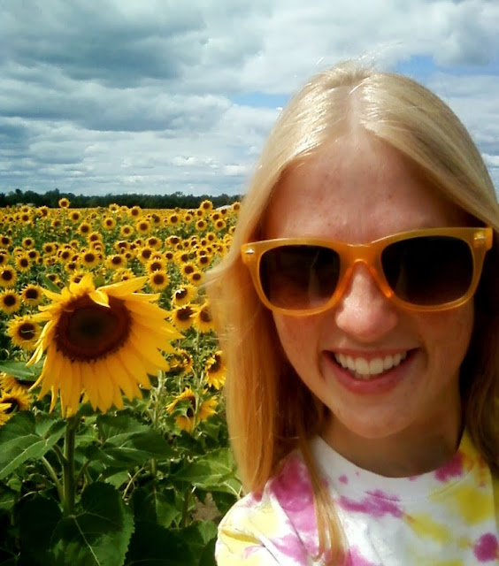 selfie with a sunflower