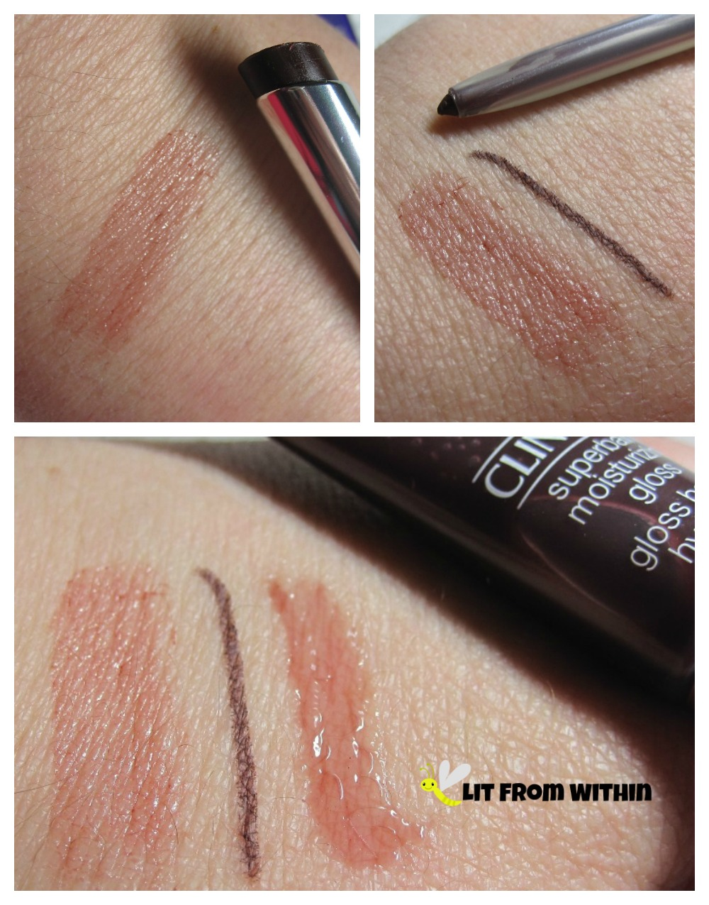 swatches of Clinique Black Honey lipstick, eye liner, and lipgloss.