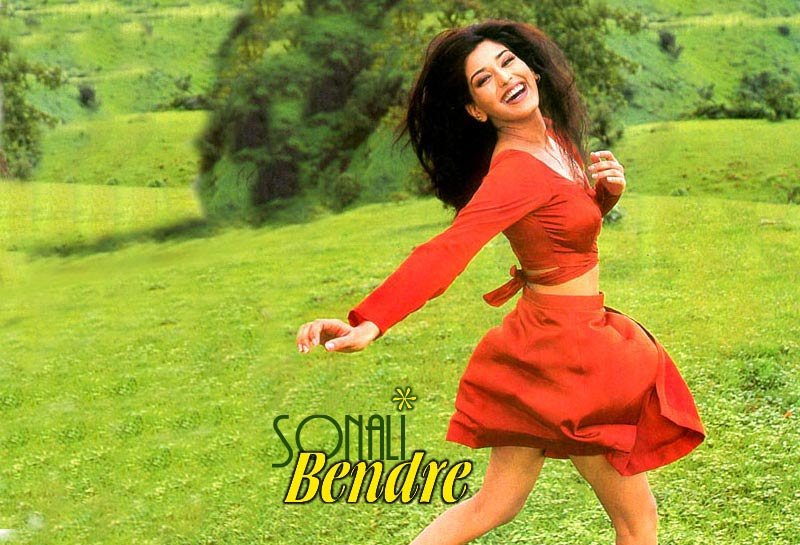 sonali bendre red dress image