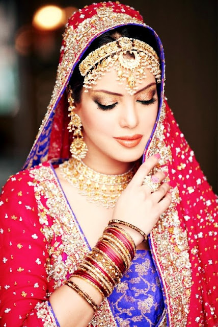 BRIDAL MAKEUP WITH PINK AND PURPLE COMBINATION